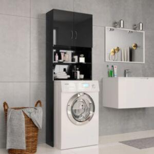 Pood24 pesumasinakapp, läikiv must 64 x 25,5 x 190 cm, puitlaastplaat