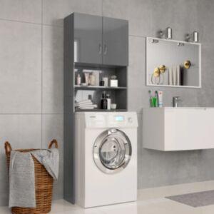 Pood24 pesumasinakapp, läikiv hall 64 x 25,5 x 190 cm, puitlaastplaat