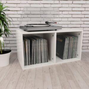 Pood24 vinüülplaadikapp kõrgläikega valge 71x34x36 cm puitlaastplaat