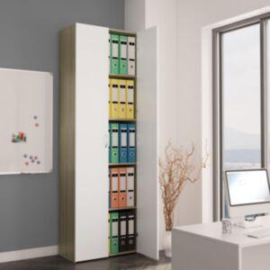 Pood24 kontorikapp, valge, Sonoma tamm, 60x32x190 cm, puitlaastplaat