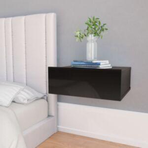 Pood24 seina öökapp kõrgläikega must 40 x 30 x 15 cm puitlaastplaat
