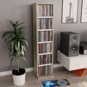 Pood24 CD-kapp, valge ja Sonoma tamm, 21 x 16 x 88 cm, puitlaastplaat