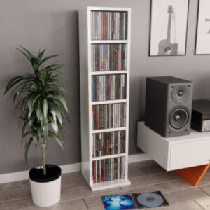 Pood24 CD-kapp, kõrgläikega valge, 21 x 16 x 88 cm, puitlaastplaat