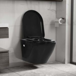 Pood24 seinale kinnitatav ääreta keraamiline tualettpott, must