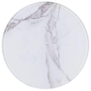 Pood24 lauaplaat valge, Ø 30 cm, marmoritekstuuriga klaas