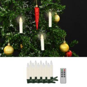 Pood24 juhtmevabad LED-küünlad puldiga, 10 tk, soe valge