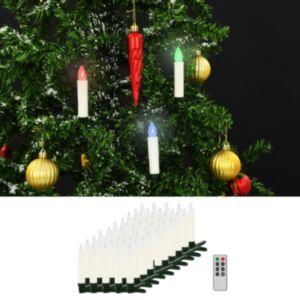 Pood24 juhtmevabad LED-jõuluküünlad puldiga, 50 tk, RGB