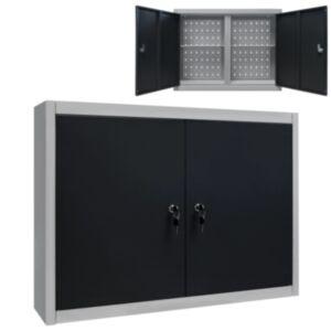Pood24 seina tööriistakapp, tööstuslik, metall, hall ja must