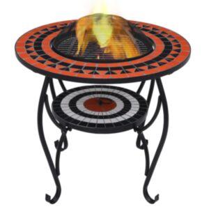 Pood24 mosaiikne tuleasemega laud terrakota ja valge 68 cm keraamiline
