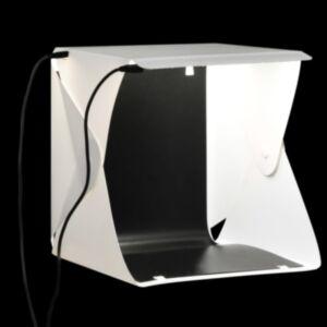 Pood24 kokkupandav LED fotostuudio valguskast 23 x 25 x 25 cm valge