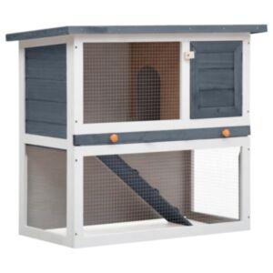 Pood24 õues kasutamiseks mõeldud küülikupuur, 1 uks, hall, puit