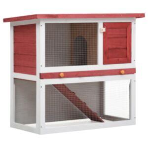 Pood24 õues kasutamiseks mõeldud küülikupuur, 1 uks, punane, puit