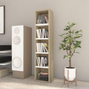 Pood24 CD-kapp valge ja Sonoma tamm 21 x 16 x 93,5 cm, puitlaastplaat