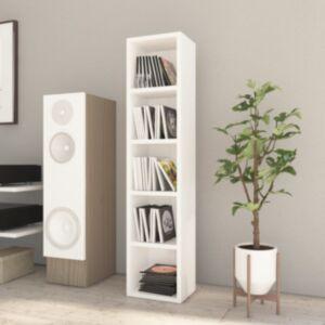 Pood24 CD-kapp, kõrgläikega valge, 21 x 16 x 93,5 cm, puitlaastplaat