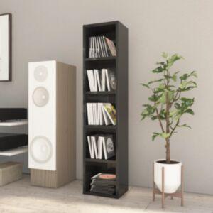 Pood24 CD-kapp, kõrgläikega must, 21 x 16 x 93,5 cm, puitlaastplaat