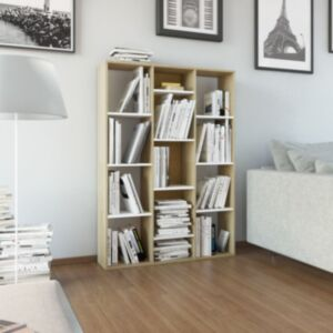 Pood24 raamatukapp, valge ja Sonoma, 100 x 24 x 140 cm, puitlaastplaat