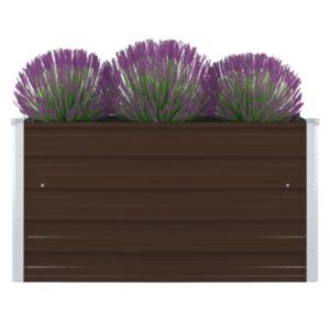 Pood24 kõrge peenrakast 100 x 100 x 45 cm, tsingitud teras, pruun