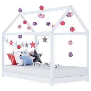 Pood24 lastevoodi raam valge, männipuit, 70 x 140 cm