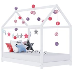 Pood24 lastevoodi raam, valge, männipuit, 80 x 160 cm
