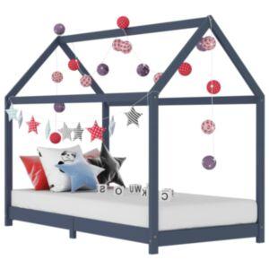 Pood24 lastevoodi raam, hall, männipuit, 70 x 140 cm