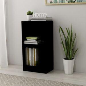 Pood24 raamaturiiul, kõrgläikega must, 40x24x75 cm, puitlaastplaat