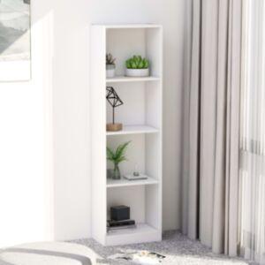 Pood24 4-korruseline raamaturiiul valge 40x24x142 cm puitlaastplaat