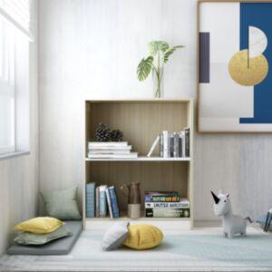 Pood24 raamaturiiul, valge, Sonoma tamm, 60x24x74,5 cm, puitlaastplaat