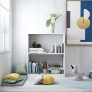 Pood24 raamaturiiul, kõrgläikega valge, 60x24x74,5 cm, puitlaastplaat