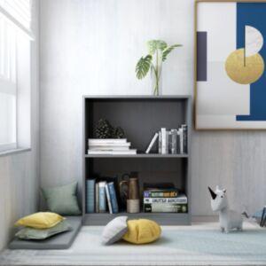 Pood24 raamaturiiul, kõrgläikega hall, 60x24x74,5 cm, puitlaastplaat