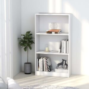 Pood24 3-korruseline raamaturiiul valge 60x24x108 cm puitlaastplaat