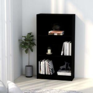 Pood24 3-korruseline raamaturiiul must 60x24x108 cm puitlaastplaat
