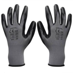 Pood24 töökindad 1 paar, hall ja must, suurus 9/L