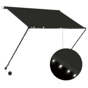 Pood24 sissetõmmatav varikatus LEDiga, 100 x 150 cm, antratsiithall