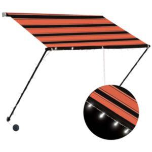 Pood24 sissetõmmatav varikatus LEDiga, 100 x 150 cm, oranž ja pruun