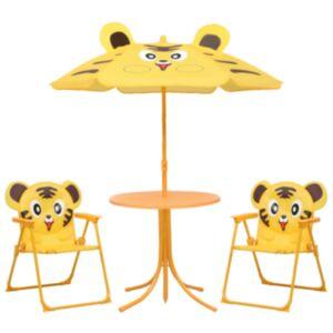 Pood24 3-osaline laste aiamööblikomplekt päevavarjuga, kollane