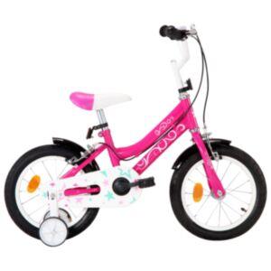 Pood24 laste jalgratas 14', must ja roosa