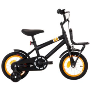 Pood24 laste jalgratas esipakiraamiga, 12'', must ja oranž