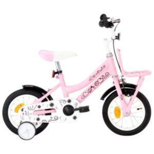 Pood24 laste jalgratas esipakiraamiga, 12'', valge ja roosa