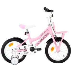 Pood24 laste jalgratas esipakiraamiga, 14', valge ja roosa