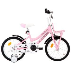 Pood24 laste jalgratas esipakiraamiga, 16', valge ja roosa