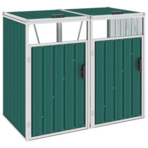 Pood24 kahe prügikasti kuur, roheline, 143 x 81 x 121 cm teras