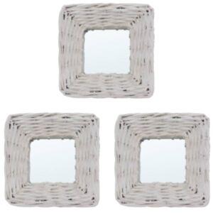 Pood24 peeglid 3 tk, valge, 15 x 15 cm, vitsad
