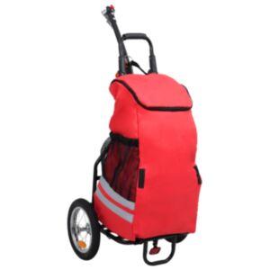 Pood24 kokkupandav jalgratta järelkäru toidukotiga, punane ja must