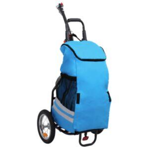 Pood24 kokkupandav jalgratta järelkäru toidukotiga, sinine ja must