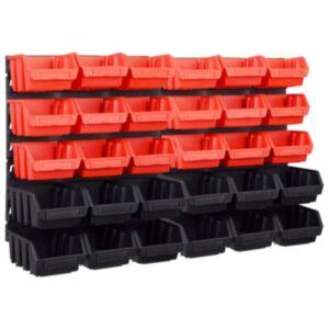 Pood24 32-osaline hoiukastide komplekt seinapaneelidega punane ja must