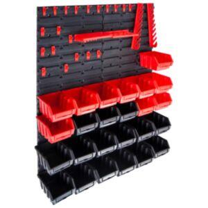 Pood24 29-osaline hoiukastide komplekt seinapaneelidega punane ja must