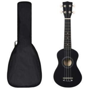 Pood24 sopran ukulele komplekt kotiga lastele must 21'