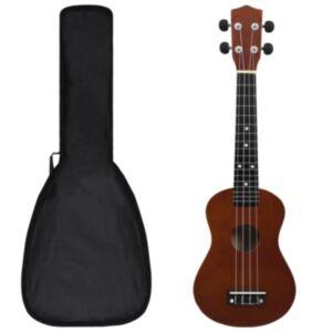 Pood24 sopran ukulele komplekt kotiga lastele tume puit 23'