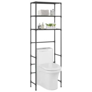 Pood24 3-astmeline hoiuriiul WC-poti kohale, must, 53 x 28 x 169 cm
