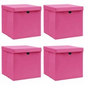 Pood24 hoiukastid kaantega 4 tk, roosa, 32 x 32 x 32 cm, kangas